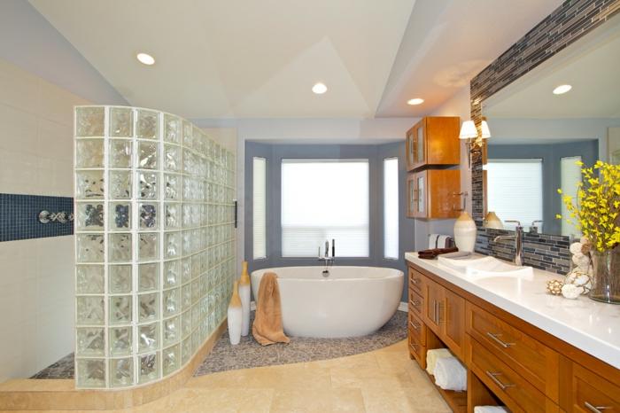 Brique en verre salle de bain