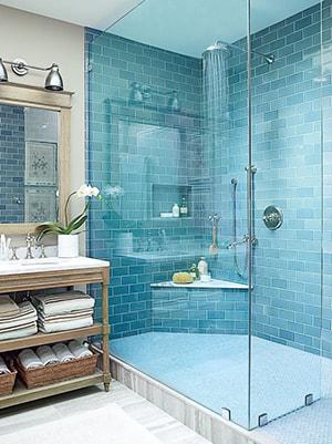 Verre coloré salle de bain