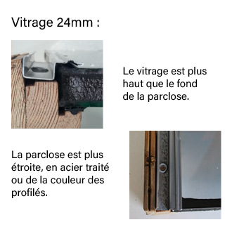Schéma parclose vitrage 24mm
